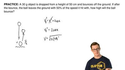 A 30 g object is dropped from a height of 50 cm and bounces off the ground. If...
