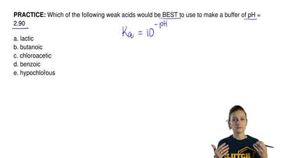 Which of the following weak acids would be BEST to use to make a buffer of pH ...