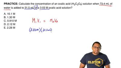 Calculate the concentration of an oxalic acid (H 2C2O4) solution when 73.4 mL ...