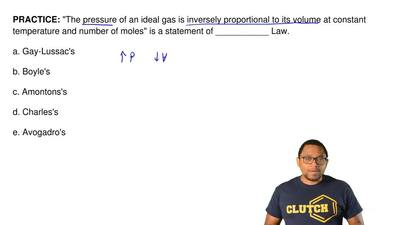 """The pressure of an ideal gas is inversely proportional to its volume at const..."