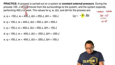 A process is carried out on a system at constant external pressure. During th...