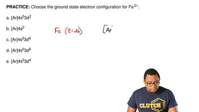 Choose the ground state electron configuration for Fe 2+.  a. [Ar]4s03d2  b. [...