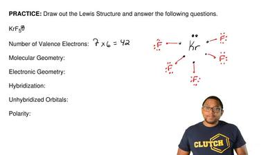 Draw out the Lewis Structure and answer the following questions.   KrF5+  Numb...