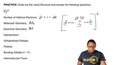 Draw out the Lewis Structure and answer the following questions.   IF2–   Numb...