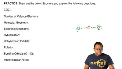 Draw out the Lewis Structure and answer the following questions.   COCl2  Numb...