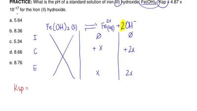 What is the pH of a standard solution of iron (II) hydroxide, Fe(OH)2. Ksp = ...