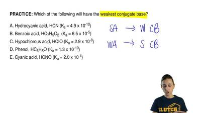 Which of the following will have the weakest conjugate base?  A. Hydrocyanic a...