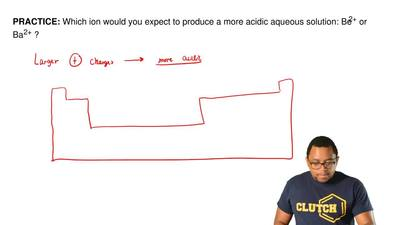 Which ion would you expect to produce a more acidic aqueous solution: Be2+ or ...