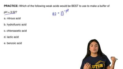 Which of the following weak acids would be BEST to use to make a buffer of  pH...