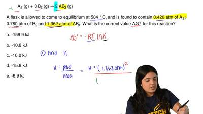 Consider the reaction below.  A2 (g) + 3 B2 (g) → 2 AB3 (g)  A flask is allowe...