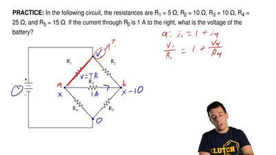 In the following circuit, the resistances are R1 = 5 Ω,R2= 10Ω,R3= 10Ω,...
