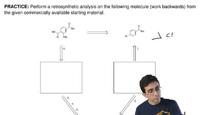Perform a retrosynthetic analysis on the following molecule (work backwards) f...