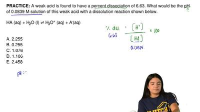 A weak acid is found to have a percent dissociation of 6.63. What would be the...