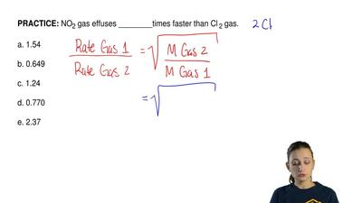 NO2 gas effuses ________times faster than Cl 2 gas.  a. 1.54  b. 0.649  c. 1.2...