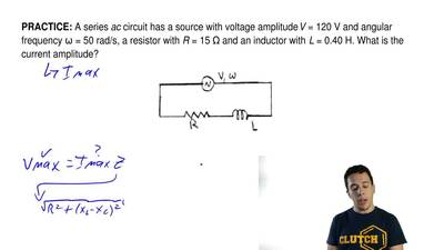 A series ac circuit has a source with voltage amplitude V = 120 V and angular ...