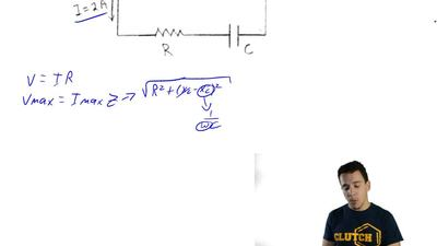 Consider the ac circuit shown in the sketch. R = 150 Ω and C = 5.0 x 10  -6 F....
