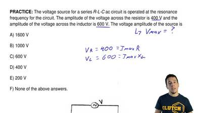 The voltage source for a series R-L-C ac circuit is operated at the resonance ...