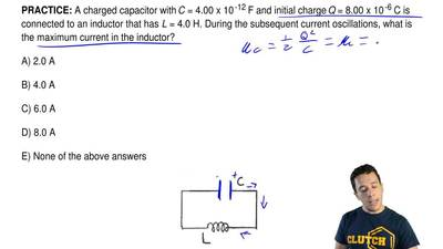 A charged capacitor with C = 4.00 x 10-12 F and initial charge Q = 8.00 x 10...