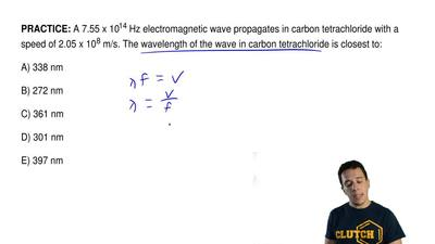 A 7.55 x 1014 Hz electromagnetic wave propagates in carbon tetrachloride with ...