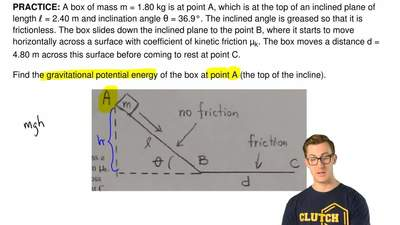 A box of mass m = 1.80 kg is at point A, which is at the top of an inclined pl...