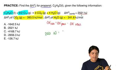 Find the ΔH of for propanol, C3H8O(l), given the following information:  C3H8O...