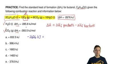 Find the standard heat of formation (ΔH f) for butanol, C4H10O(l) given the fo...