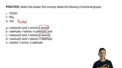 Select the answer that correctly labels the following 3 functional groups.  i....
