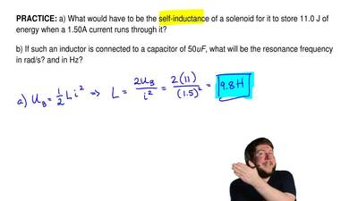 a) What would have to be the self-inductance of a solenoid for it to store 11....