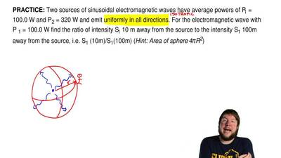 Two sources of sinusoidal electromagnetic waves have average powers of P1 = 10...