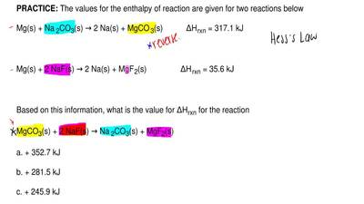 The values for the enthalpy of reaction are given for two reactions below  Mg(...