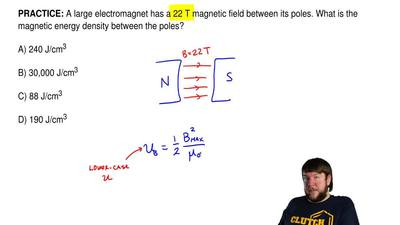 A large electromagnet has a 22 T magnetic field between its poles. What is the...