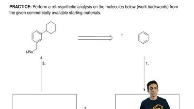 Perform a retrosynthetic analysis on the molecules below (work backwards) from...