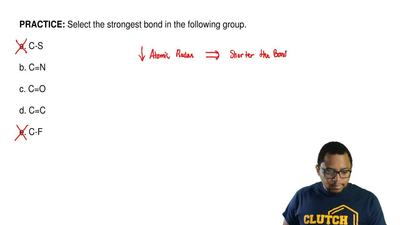 Select the strongest bond in the following group.  a. C-S  b. C=N  c. C=O  d. ...