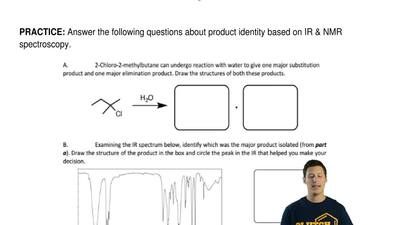 Answer the following questions about product identity based on IR & NMR sp...