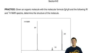 Given an organic molecule with the molecular formula C9H9N and the following I...