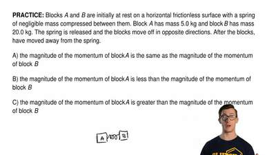 Blocks A and B are initially at rest on a horizontal frictionless surface with...