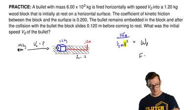 A bullet with mass 6.00 x 10-3 kg is fired horizontally with speed V0 into a 1...