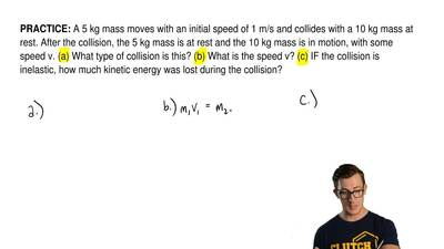 A 5 kg mass moves with an initial speed of 1 m/s and collides with a 10 kg mas...