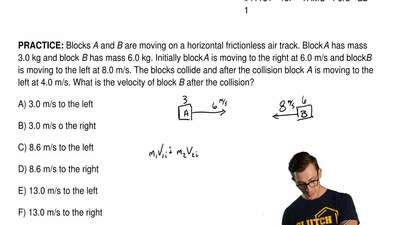 Blocks A and B are moving on a horizontal frictionless air track. Block A has ...