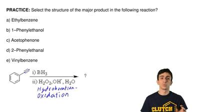 Select the structure of the major product in the following reaction?  a) Ethyl...