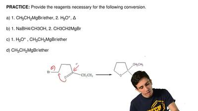 Provide the reagents necessary for the following conversion.  a) 1. CH3CH2MgBr...