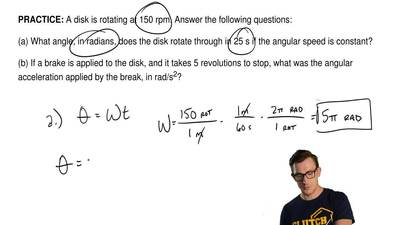 A disk is rotating at 150 rpm. Answer the following questions:  (a) What angle...