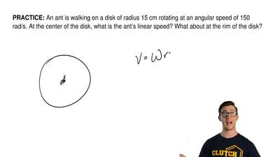 An ant is walking on a disk of radius 15 cm rotating at an angular speed of 15...