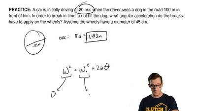 A car is initially driving at 20 m/s when the driver sees a dog in the road 10...