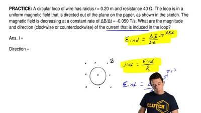 A circular loop of wire has raidus r = 0.20 m and resistance 40 Ω. The loop is...