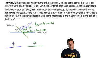 A circular coil with 50 turns and a radius of 2 cm lies at the center of a lar...
