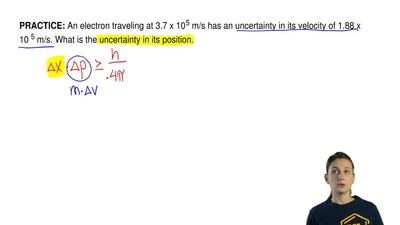 An electron traveling at 3.7 x 105 m/s has an uncertainty in its velocity of ...