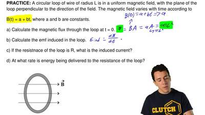 A circular loop of wire of radius L is in a uniform magnetic field, with the p...