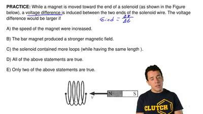 While a magnet is moved toward the end of a solenoid (as shown in the Figure b...