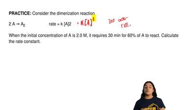 Consider the dimerization reaction  2 A → A2                     rate = k [A]2...